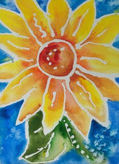Sassy SunFlower original watercolor painting,abstract art, whimsical, cheerful,  home decor.