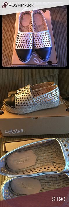 Loeffler Randall perforated silver espadrilles Silver braided sole with black toe cap. Rounded toe. Only worn once. Come with original box. Thx for looking ✨ Loeffler Randall Shoes Flats & Loafers