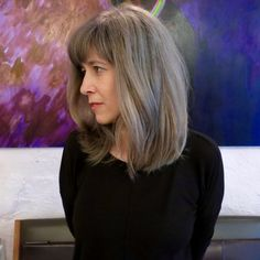 client didn't want to touch up her gray roots anymore, so Sarah dyed her hair a gorgeous smoky silver hair color in order to seamlessly blend in with incoming hair. Teal Hair, Silver Grey Hair, White Hair, Brown Hair, Pelo Color Plata, Gray Hair Growing Out, Grey Wig, Halloween Wigs, Super Hair