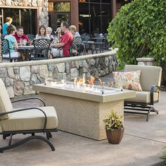 The Outdoor GreatRoom Company Key Largo Linear Natural Gas Fire Pit Table with Cystal Fire Burner - Brown - Ships As Propane With Conversion Fittings - Direct Spark Ignition : BBQGuys Rustic Fire Pits, Metal Fire Pit, Gas Fire Pit Table, Concrete Fire Pits, Fire Pit Seating, Fire Pit With Rocks, Gazebo With Fire Pit, Fire Pit Backyard, Backyard Seating
