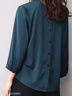 9b7d7232782845 Autumn Spring Women Single Breasted Decorative Button Plain Long Sleeve  Blouses - berrylook.com