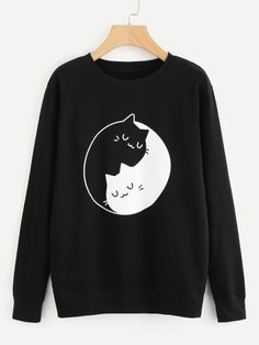 To find out about the Graphic Print Sweatshirt at SHEIN, part of our latest Sweatshirts ready to shop online today! Mode Grunge, Grunge Style, Neo Grunge, Hoodie Sweatshirts, Printed Sweatshirts, Hoodies, Sweat Shirt, Mode Kawaii, Diy Mode
