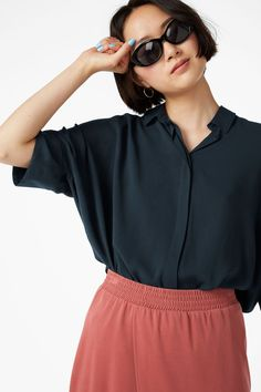 a82cd4aabce4c Model front image of Monki oversized boxy shirt in blue Button Up