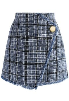 Winsome Asymmetry Grid Tweed Flap Skirt in Navy - Skirt - Bottoms - Retro, Indie and Unique Fashion