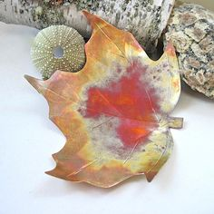 Eco Friendly Copper Rustic Maple Leaf Dish Eco by #RoughMagicCreations on Etsy #ecofriendly #maine #maineteam #homedecor