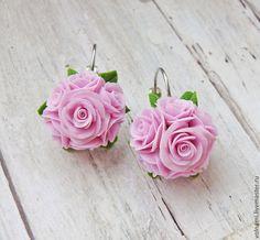 """""""Нежность"""" серьги - розы,8 марта,polymer clay,розовый,Термопластика,подарок"""