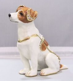 New Trinket Box Gift Painted Swarovski Crystals Jack Russell Dog Animal Necklace