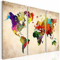 XXL Format Bilder Kunstdrucke Prestigeart, 1051339a Weltkarte Bild auf Leinwand, Coloured World, 120 x 80 cm, Fertig Aufgespannt 3 Teile Wandbild