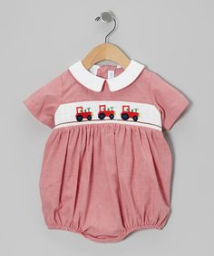 Red Micro Gingham Tractor Smocked Bubble Bodysuit by Vive la Fete