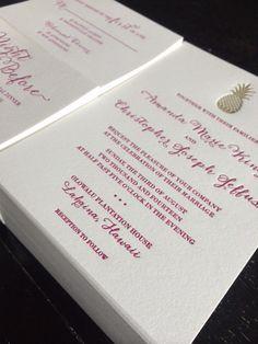 Custom wedding invitations by confetti grey  #confettigrey #letterpress #weddinginvitations #fushiaandgold