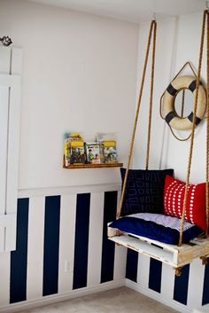 "Tidbits from the Tremaynes | hanging seat + nautical + shelf (in Rustoleum's ""Early American"") = x's room"