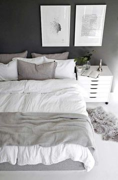Nice 50 Gorgeous Dark Grey Bedrooms Decorating Design Ideas If you don't like white bedroom paint, you can choose to apply dark gray in the bedroom. These bedroom paint colors give a modern and minimalist impression. Like the white and yellow bedroom … White Gray Bedroom, Grey Bedroom Decor, Room Ideas Bedroom, Decor Room, Modern Bedroom, Home Decor, Grey Bedrooms, Bedroom Photos, Grey Bedroom Design