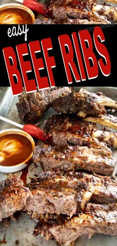Easy beef ribs recipe with a simple dry rub cooked low and slow for fall off the bone tender meat. Oven baked or offset grilling method. Easy beef ribs recipe with a simple dr Easy Beef Ribs Recipe, Oven Baked Beef Ribs, Grilled Beef Ribs, Bbq Beef Ribs, Beef Back Ribs, Grilled Steak Recipes, Ribs On Grill, Bbq Meat, Summer Grilling Recipes