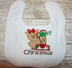 First Christmas Baby Bib-Newborn Girl Size by AddiesThings on Etsy