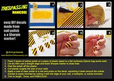Trespassing manicure-- DIY decals made from nail polish