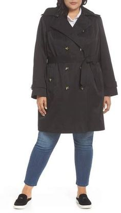 ecfff9d9832 London Fog Hooded Double Breasted Trench Coat (Plus Size)