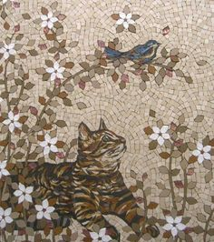 Isabelle Bacinello cat and bird mosaic Mosaic Diy, Mosaic Crafts, Mosaic Projects, Mosaic Glass, Mosaic Animals, Mosaic Birds, Mosaic Designs, Mosaic Patterns, Art Texture