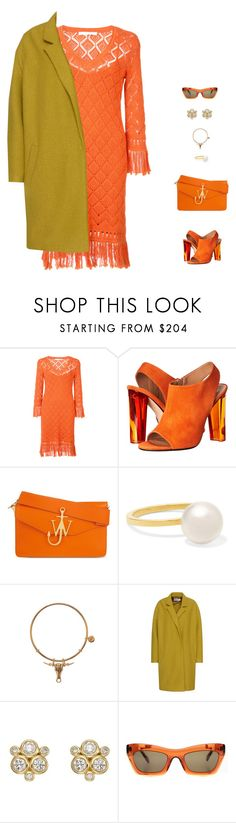 """""""orange"""" by candynena228 ❤ liked on Polyvore featuring Trina Turk, Calvin Klein Collection, J.W. Anderson, Sophie Bille Brahe, Pearl & Queenie, Temple St. Clair and CÉLINE"""