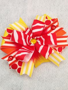 Girls hair bow toddler hair bow orange yellow red on Etsy, $8.00