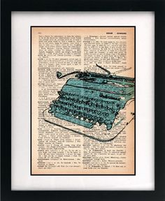 vintage dictionary art print - underwood typewriter sketch blue 8x10 - FREE shipping worldwide $10.00