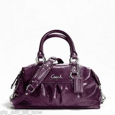 NWT Coach Patent Leather Ashley Satchel Raisin Purple Handbag Purse #F21042