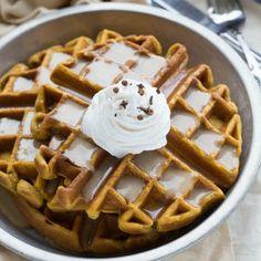 Cinnamon Pumpkin Waffles with a Caramel Syrup