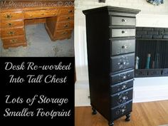 Not quite a family heirloom, but this 90's desk gets a new life as a tall lingerie chest.  Same great storage, but it takes up such a small space.