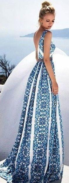 #summer #hot #weather #outfits |  Porcelain Print Maxi Dress