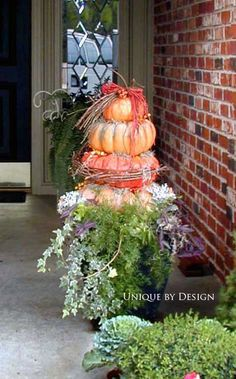 Pumpkin Topiary l Unique by Design l Helen Weis  - Fall Container Gardening