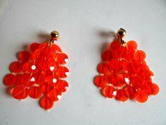 Vintage Orange Multi-Strand Hanging Clip On Earrings, Boho Jewelry, Mod Orange Disc Dangle Earrings, Kitsch Retro Mod Flirty Jewelry