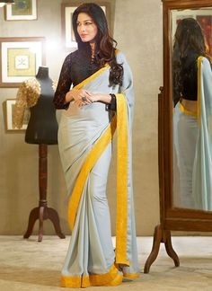 Grey Georgette Saree.