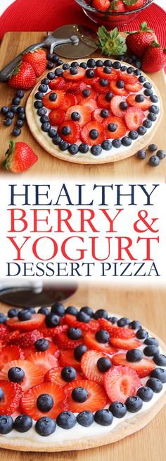 A deliciously healthy berry and yogurt dessert pizza inspired by the beautiful weather we've been enjoying lately and seasonal eating in the spring. This yummy fruit pizza is super easy to make and is both gluten and refined sugar free. Piled high with your favorite berries it's a guiltless treat everyone will love. Click through to print the recipe and pin it now, to make again and again. @jillconyers