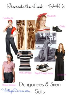How to get the 1940s inspired fashion look. Dresses, skirts, pants, tops, shoes and accessories. Mix it all for a forties vintage style.