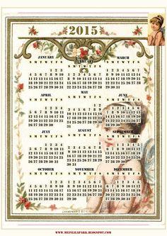 FREE printable 2015 vintage calendar ^^