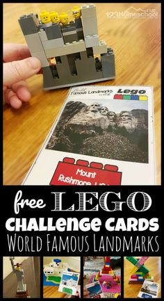 FREE Lego Challenge Cards - free printable STEAM education uses lego or duplo bricks to help students learn about famous buildings and landmarks from around the world. This fun learning activity is…More Lego Challenge, Challenge Cards, Lego Activities, Educational Activities, Summer Activities, Toddler Activities, Famous Landmarks, Famous Buildings, Steam Education