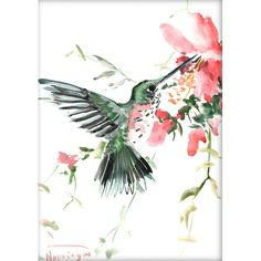 Hummingbird with red flowers, Original watercolor painting, 14 X 11 in, flying bird art, hummingbird lover Watercolor Hummingbird, Hummingbird Flowers, Abstract Watercolor, Watercolor Paintings, Watercolour, Painting Prints, Art Prints, Bird Drawings, Fox Tattoos
