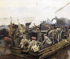 White Army crossing a river, Russian Civil War