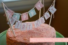 Free 'Happy Birthday' printable letters used to create this bunting