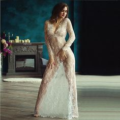 Size S Small Sexy Lingerie White Lace Long Maxi Dress new Gown Sleepwear SU-48