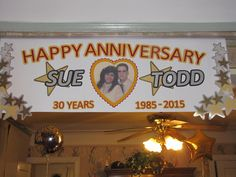 A 3-foot wide hanging banner created to celebrate a milestone anniversary.
