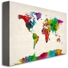 "Trademark Art ""Watercolor World Map II"" Canvas Art by Michael Tompsett"