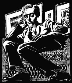 Self Portrait in a Chair, 1920 by M.C. Escher. Expressionism. self-portrait