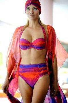 Gottex Orange Calypso Silk Caftan Swimsuit Cover Up