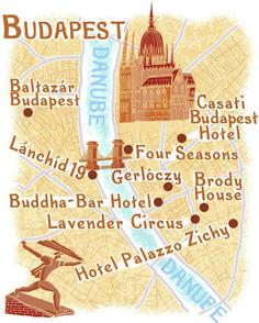 Budapest map by Robert Littleford #map #budapest #hungary