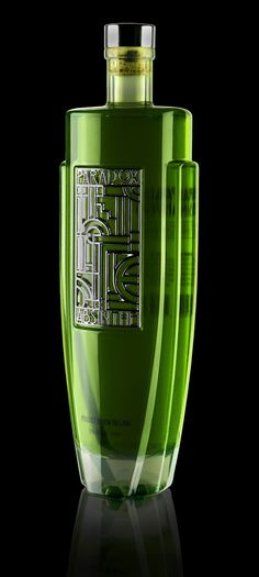 "Art Deco Absinthe Bottle: ""After countless hours of research, the collective perception of Absinthe was deconstructed into meaningful facets of its character. Each facet was then translated into a visual language of imagery, elements, colors, & textures. Liquor Bottles, Perfume Bottles, Whisky, Art Nouveau, Wine And Spirits, Art Deco Design, Bottle Design, Art Deco Fashion, Shades Of Green"