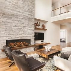 Evonic electric fire - Like the wood shelf running across to make it cohesive