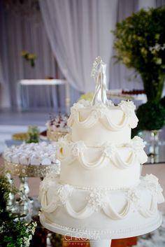 Bolo casamento - vintage - drapeado - retro - wedding cake