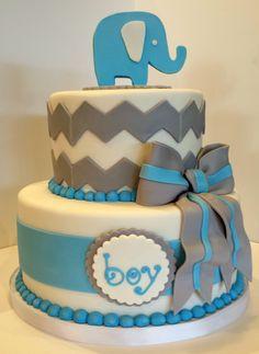 Chevron elephant baby shower cake