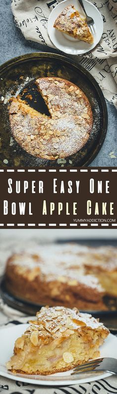 This One Bowl Apple Cake will blow your mind. It's totally effortless (only 15 minutes prep time) and is so easy to make, even a kid can pull it off! | yummyaddiction.com