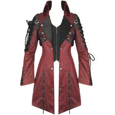 PUNK RAVE WOMENS POISONBLACK JACKET RED Violent Delights ($135) ❤ liked on Polyvore featuring outerwear, jackets, punk gothic jacket, steampunk jacket, mesh jacket, goth jacket and red jacket